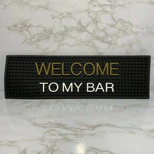 Welcome To My Bar Black Rubber Counter Bar Mat New